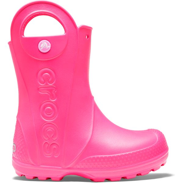 Dětské holínky Crocs HANDLE It Rain Boot růžová